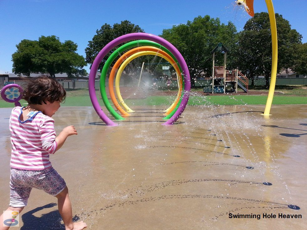 A tipping bucket in action at Sebastopol Aquatic Playspace in Ballarat