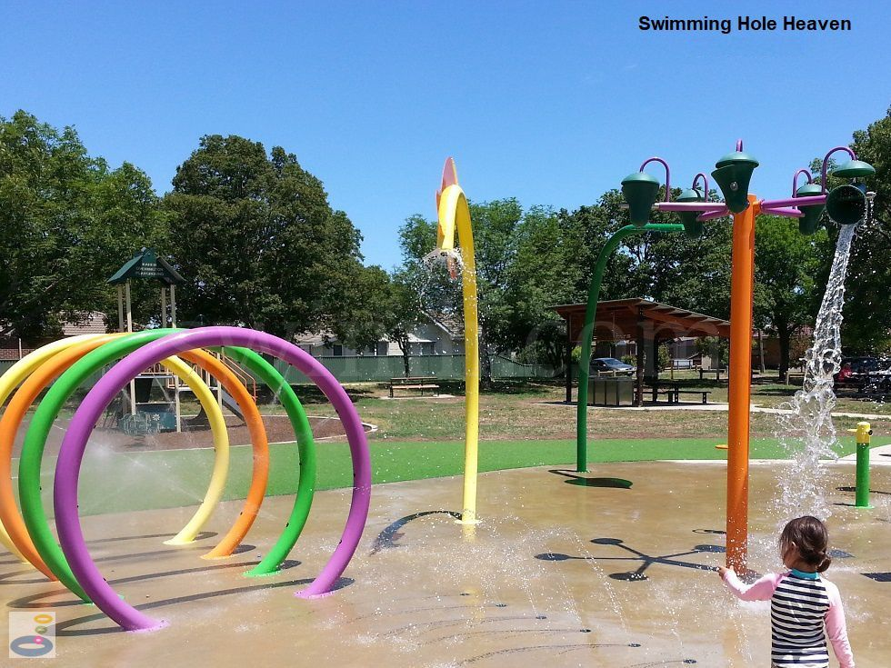 Preparing to take on the line of sprinklers and hoops at Sebastopol Aquatic Playspace in Ballarat