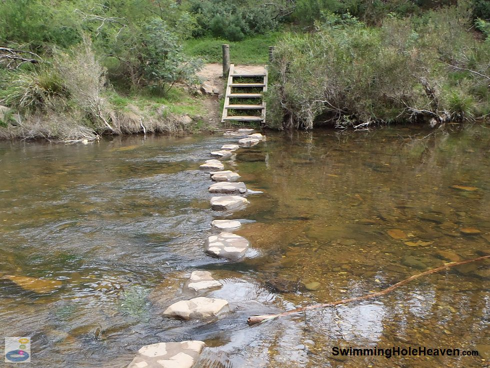 Stepping stones across the Lerderderg River