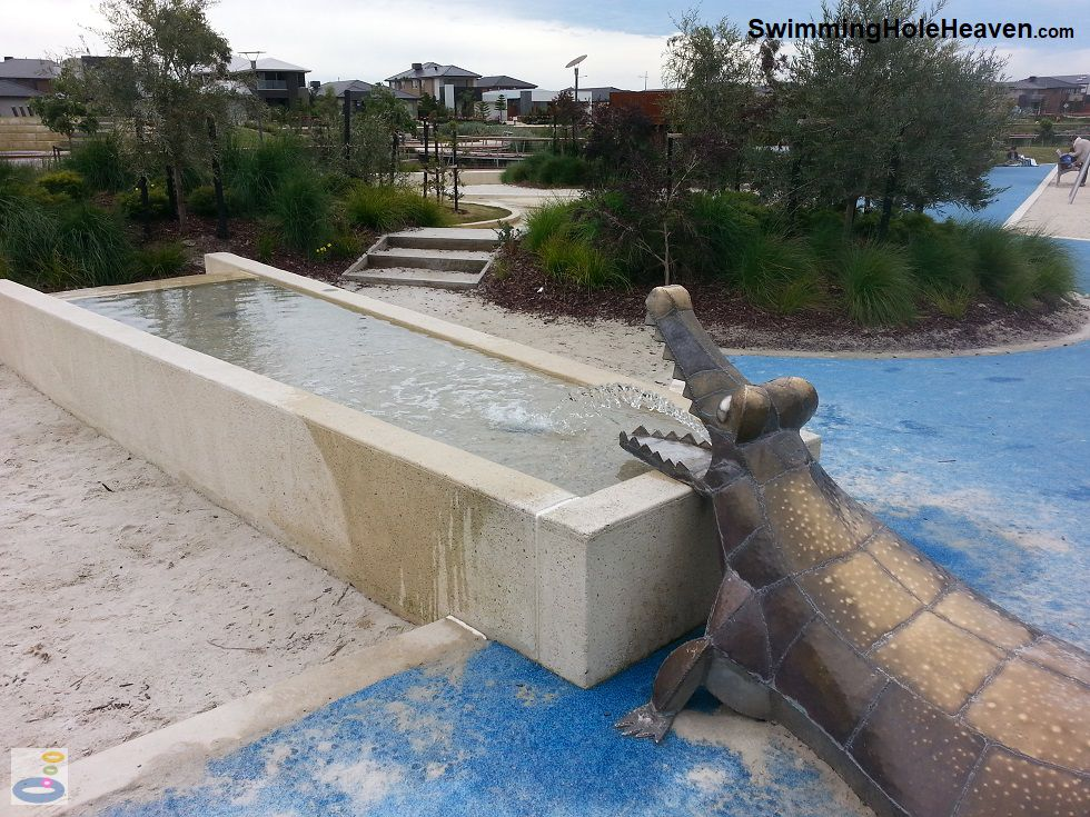 The crocodile spurting water at Crocodile Park, Point Cook