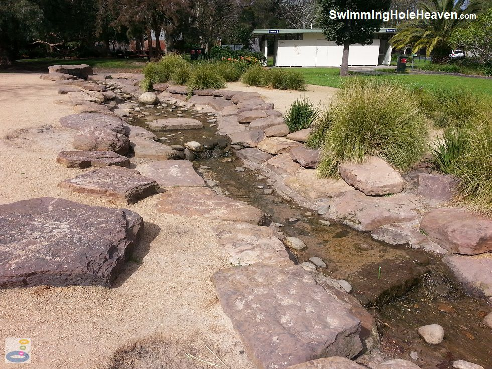 The steps in the stream at Harleston Park, Elsternwick