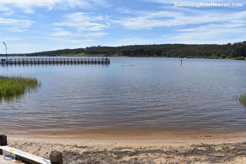 The pier at the swimming area in the Latrobe River at Lake Narracan