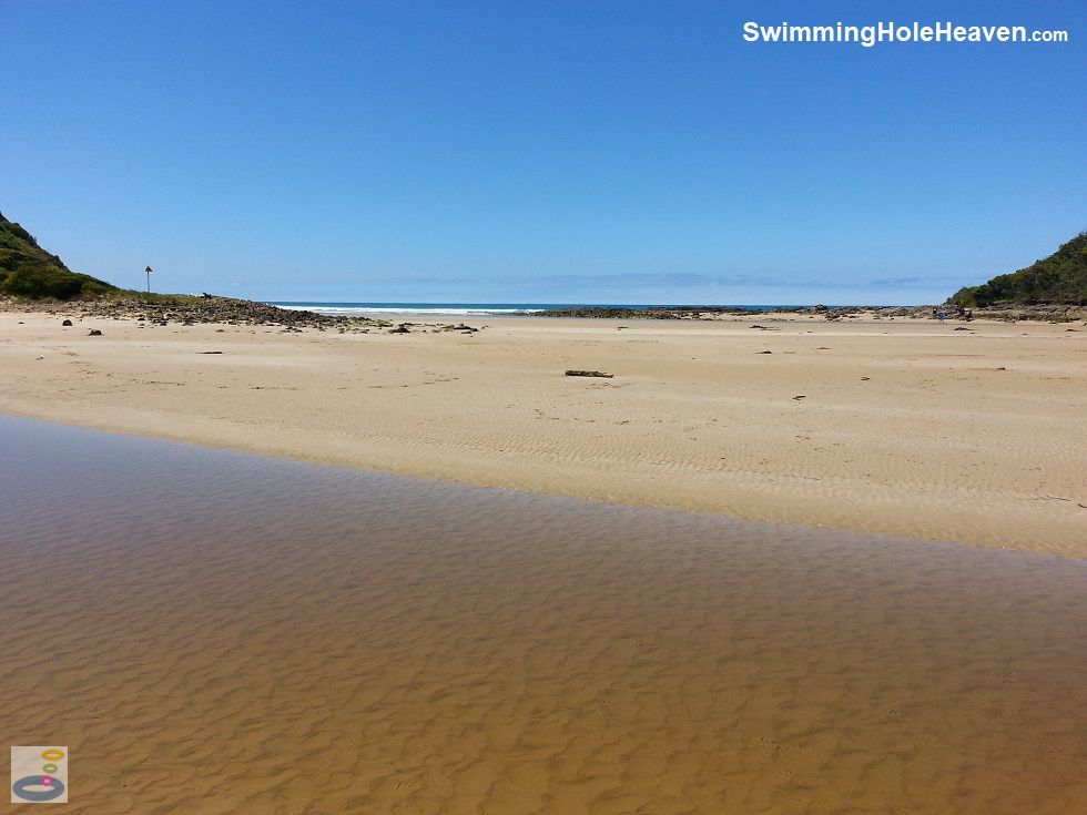 The view across the sandbar to the ocean at St George River near Lorne