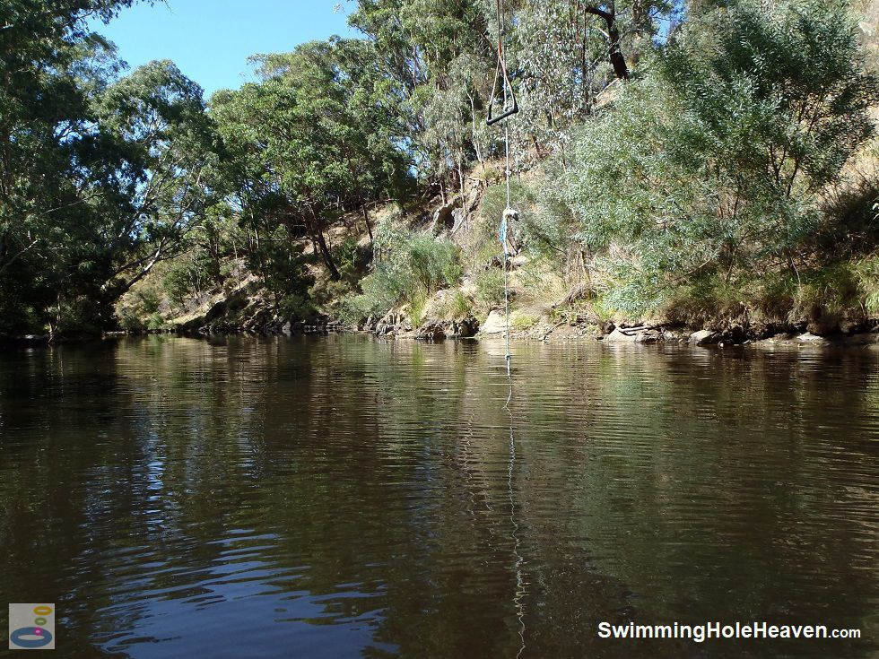 The rope swing in the Loddon River pool at Vaughan Springs